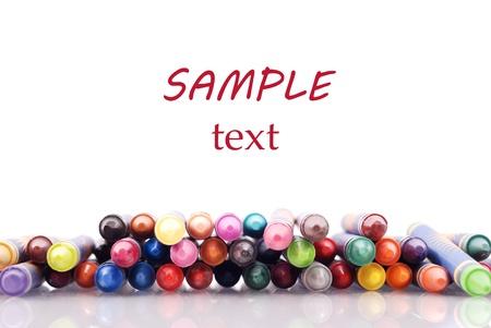 Stapel van Crayons met Custom ruimte voor tekst Stockfoto