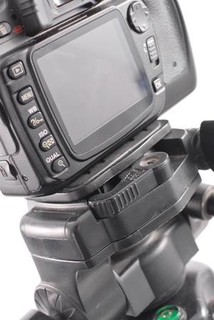 三脚のカメラ ロック スイッチ 写真素材