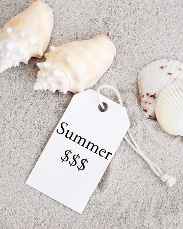 Summer Retail Shopping Tag on Sand with Sea Shells Stock Photo - 11771733