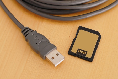 USB Cable with Memory Card Stok Fotoğraf