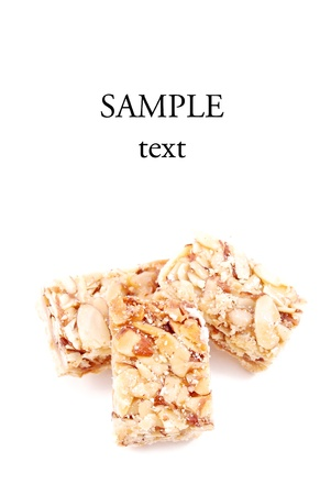 Pecan and Almond Sticky Bar with Space for Text Imagens