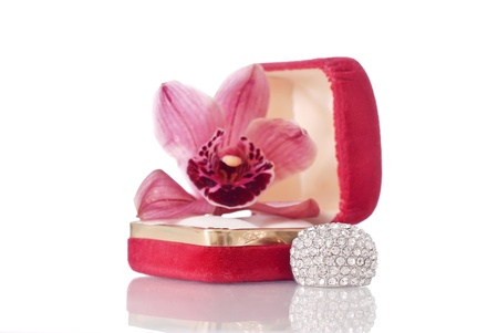 Large Fashion Jewelry Ring with Orchid photo