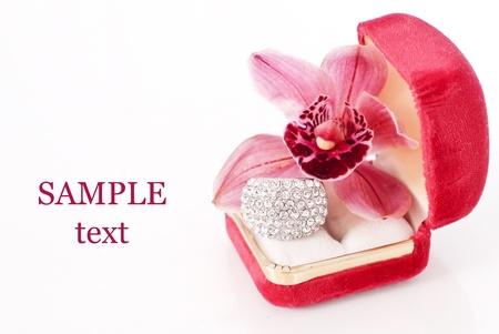 fake diamond: Valentines Day Gift of Romance Stock Photo