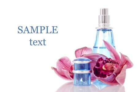 salon background: Orchid Scentsed Perfume with Space for Text Stock Photo
