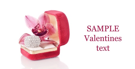 Orchid Flower and Large Fashion Ring with Space for Text Imagens - 12027917