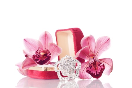 Large Fashion Ring and Orchid Flowers photo