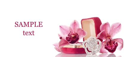 Flower Motif Fashion Jewelry Ring with Orchids and Space for Text photo