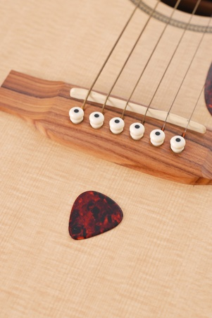 thin shell: Tortoise Shell Guitar Pick on Acoustic Guitar