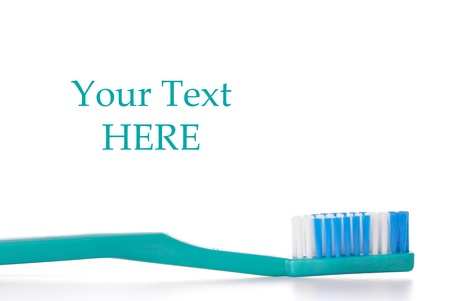 Blue Green Mans Toothbrush with Space for Text Stock Photo - 12437954
