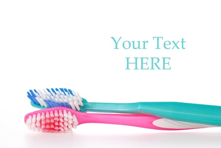 Husband and Wife Toothbrush with Space for Text\ Stock Photo - 12437955
