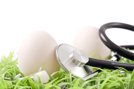 Two Eggs on Grass with Stethoscope Tool photo