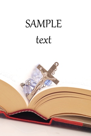 Rosary and Bible Religion Concept Image