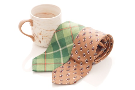 Green and Brown Tie with Coffee mug Banque d'images