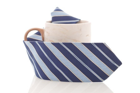 Blue Striped Tie with coffee Mug Against White Background