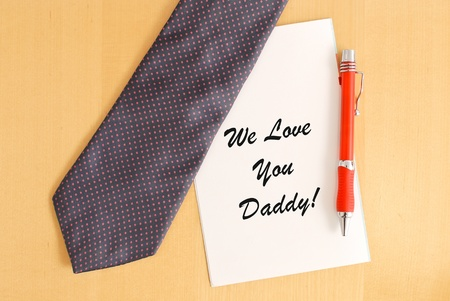 Tie and Pen on Fathers Day Captioned Greeting Card photo