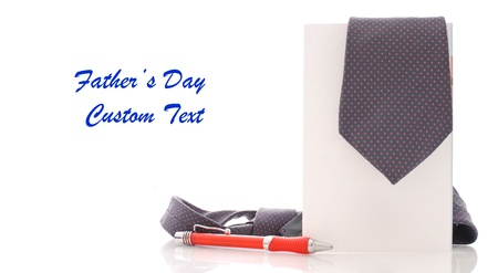 Fathers Day Concept with Tie on Greeting Card and Space for Custom Text photo