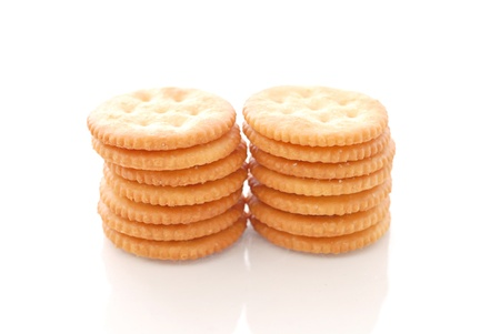 munch: Stack of Butter Crackers against white background