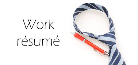 Neck Tie and Pen with Work Resume Caption photo