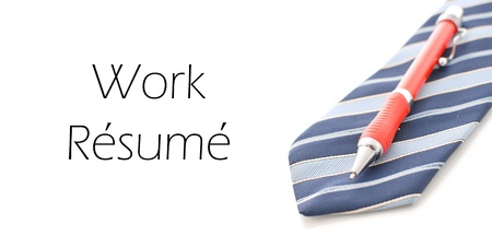 laidoff: work Resume Caption with Business Tie and Pen