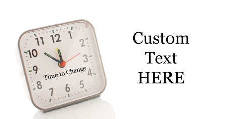 better living: Time to Change Caption on Clock with Space for Custom Text Stock Photo