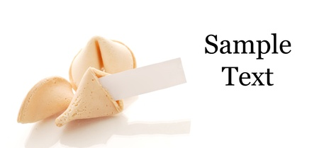 Fortune Cookie with Space for Text on white and Wrapper Stock Photo - 13650405