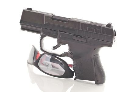 military training: Hand Gun and Safety Glasses