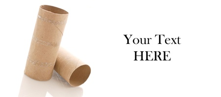 Empty Toilet Paper rolls on White with Space for Custom text Stock Photo - 14458548