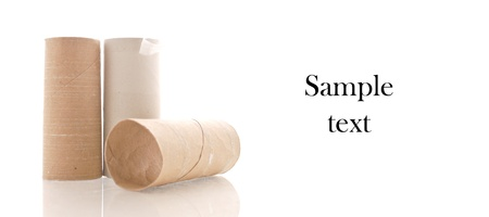 empty the bowel: Three Empty Rolls of Toilet Paper with Space for Custom Text on white Stock Photo
