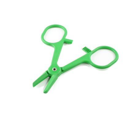 open green hemostat on white background