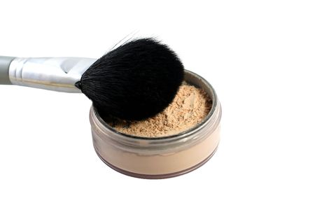 loose powder with brush on a white background Stock Photo - 2751699