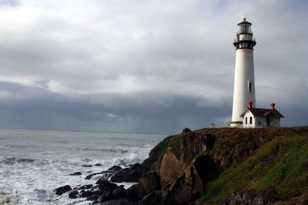 Pigeon Point Lighthouse California Coast with a storm coming in