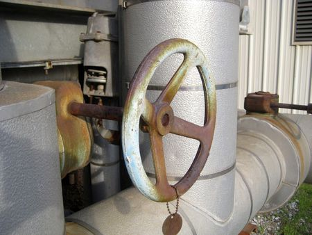 A valve that controls the flow of water in a pipeline.
