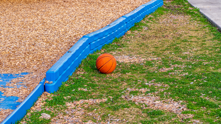 Orange basketball resting on the ground at a park in the golden hour sun