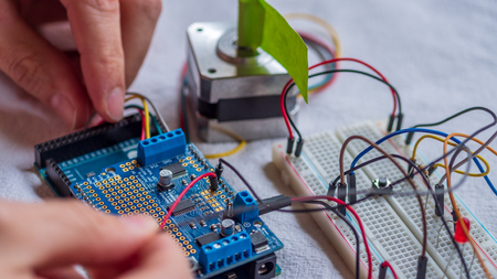 Microcontroller build closeup showing components, board and shield Stock Photo