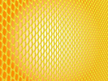 fond: Grille dorée à trous circulaires, fond orance et centre blanc, image de synthèse Stock Photo