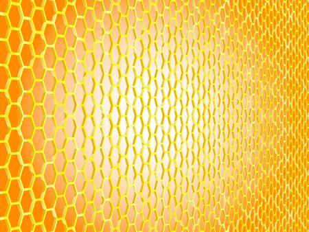 Grille hexagonale dore paisse en perspective, fond orange, centre blanc Banque d'images - 888241