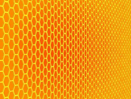 Calandre hexagonale dorée épaisse en perspective, friands jaune, orange centre  Banque d'images - 888242