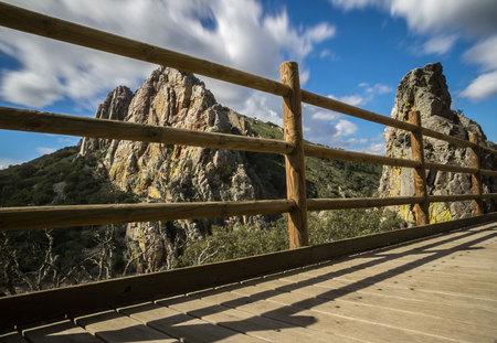 Gypsy jump footbridge in the Monfrague National Park, Cáceres, Extremadura, Spain