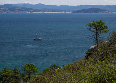 ship in Cies Islands, National Park Maritime-Terrestrial of the Atlantic Islands, Galicia (Spain)