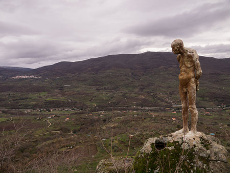 El Torno, Caceres, Spain; January, 12, 2018: Portrait of one of the statues of the monument to the forgotten of the Spanish Civil War. Jerte Valley