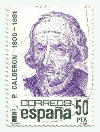 SPAIN - CIRCA 1981: A stamp printed in Spain shows dramatist Pedro Calderon de la Barca, circa 1981.