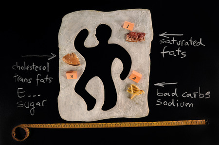 Unhealthy food victim  Crime scene, a silhouette of a man made out of baking dough  Next to the victim s silhouette several evidences about the cause of death,bacon,a hamburger,fries, a measuring tape  Cause and effect of unhealthy eating