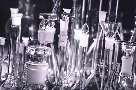 Vintage setup with laboratory glassware and equipment, close-up   Archivio Fotografico