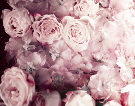 Vintage bouquet of fresh pink roses.