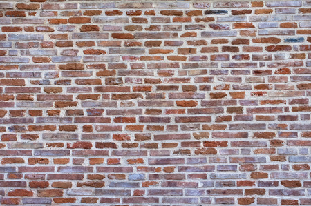 Brick wall texture background flat image front view.