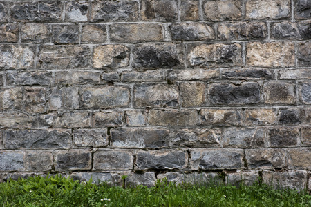 Raw stone wall texture and green grass customizable suitable for background use.