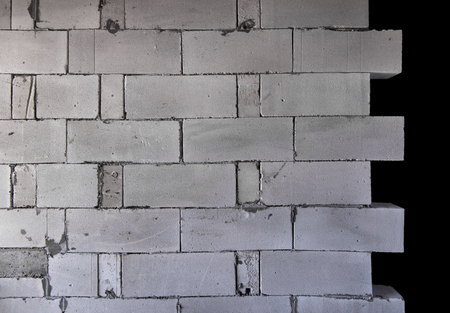 Raw AAC autoclaved aerated concrete wall, front view, editable background. Archivio Fotografico