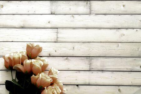 Pink Roses on White Shabby Background, Photo Mockup 写真素材