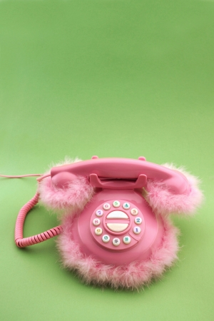 Pink phone with copy space Stock Photo - 21745777