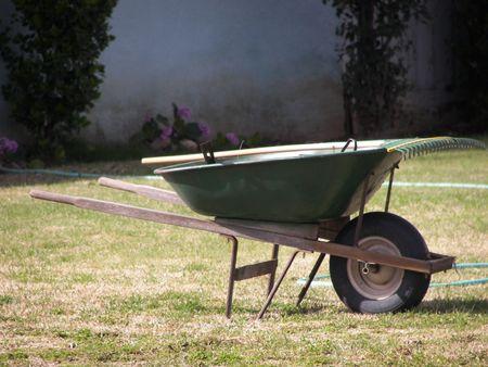 wheel barrel: Gardening Stock Photo
